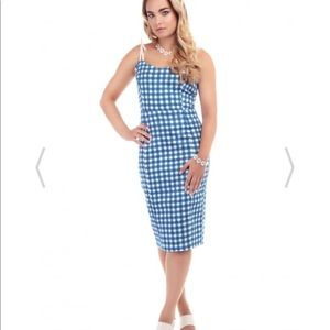 NWT Collectif Nancy Painted Gingham pencil dress